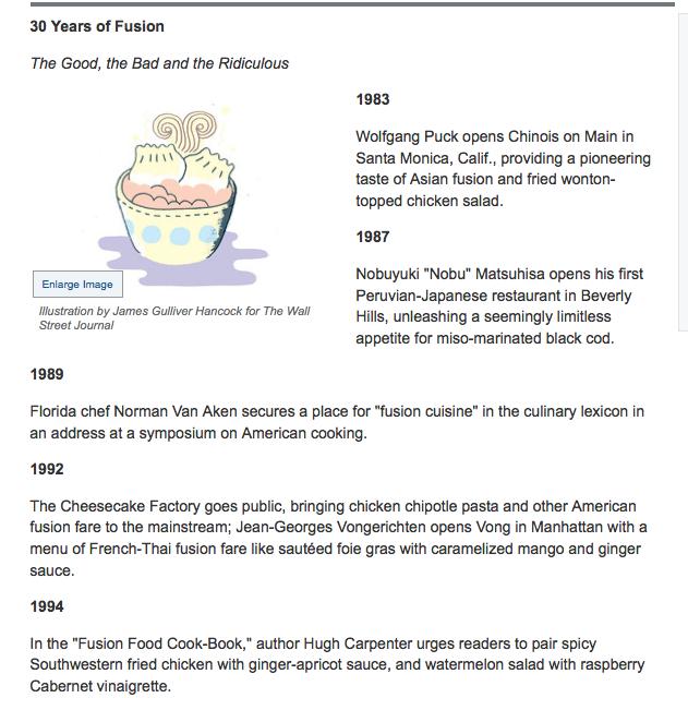 30 y History of fusion food.